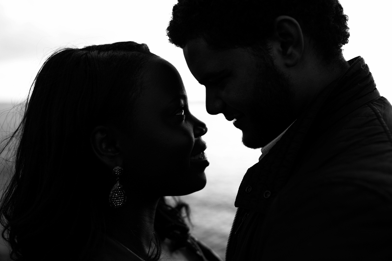 romantic engagement photo shoot close-up
