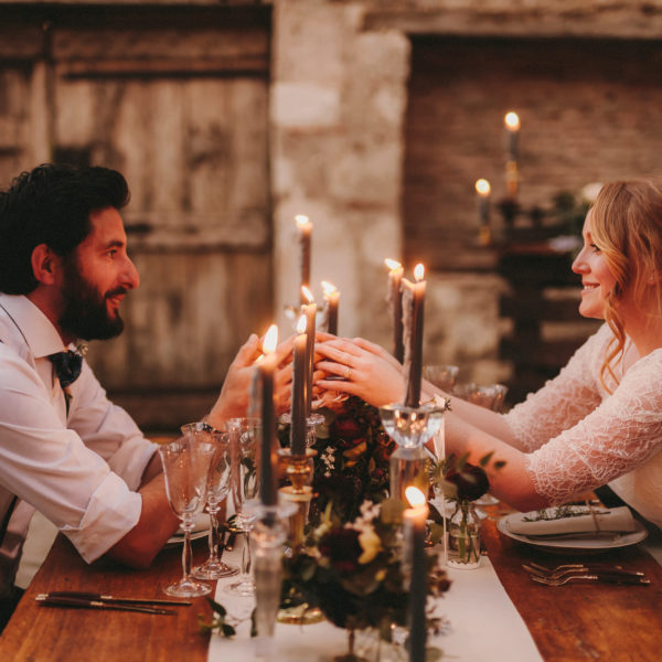 Intimate rustic elopement in countryside of France