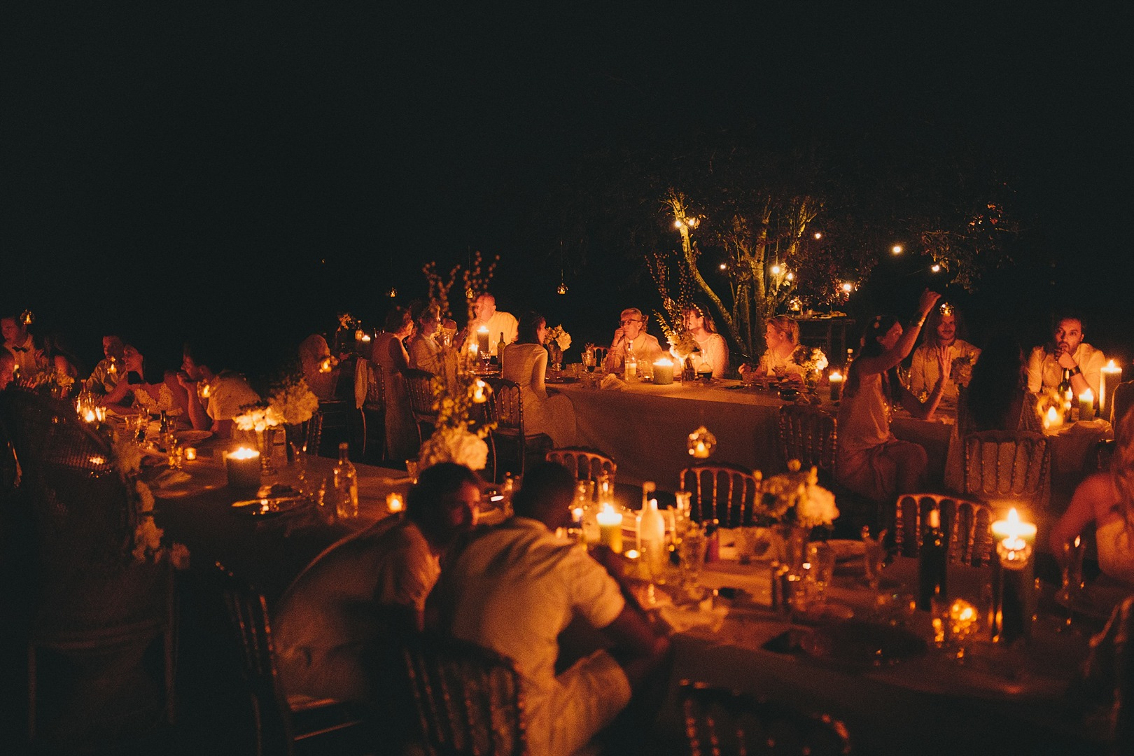 candle lit wedding party